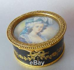 French Bronze BOX Lady Miniature Hand Painted Antique Portrait Signed