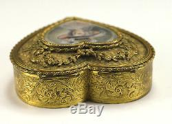 French Gilt Bronze Jewelry / Trinket Box, Hand painted Portrait of Lady Signed