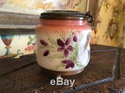 French Jewelry Trinket Casket Box Hand Painted Opaline Beveled Glass Victorian