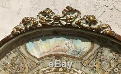 French Victorian 19th Century Hand Painted Fan Encased In Gold Shadow Box