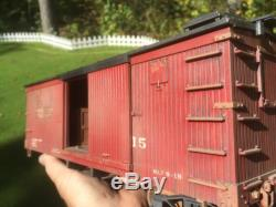 G Scale LGB WOODEN SIDED BOX CAR HAND PAINTED AND WEATHERED COMPLEAT WITH CARGO