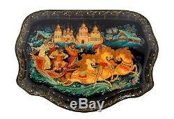GORGEOUS Xodova Russian Hand Painted Winter Lacquer Box