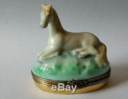 GR Limoges Hand Painted White Horse Sitting on Oval Trinket Box