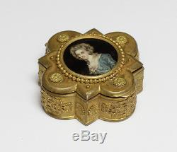 Gilt Bronze Box with Hand painted portrait, signature indistinct. C1900