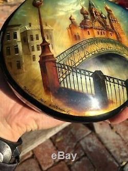 Gorgeous Russian Handpainted Abalone Fedoskino Lacquer Box Trinket Large Vin