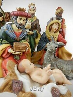 Grandeur Noel 9 Piece NATIVITY SET Hand Painted Porcelain EXCELLENT IN BOX