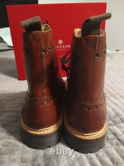 Grenson Fred Men's Boots Hand Painted Brown Commando Sole New in Box FS