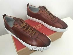 Grenson New Sneaker 1 One Rrp £185 Tan Hand-painted Leather Uk 9 Trainers Boxed