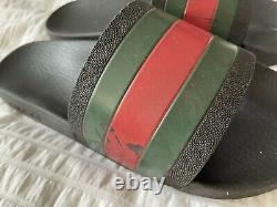 Guaranteed authentic Gucci hand-painted rubber slides box, Mens US 11.5