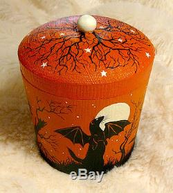 HAND PAINTED FERRET BAT TREE MOON WOODEN HALLOWEEN BOX Art by Stef