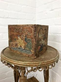 Hand Painted Antique Chinese Tea Chest Caddy Box Oriental Vintage Decorative