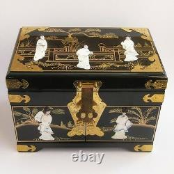 Hand Painted Black Lacquered Jewellery Box Mother Of Pearl Detailing