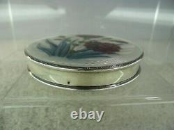 Hand Painted & Guilloche Enamel Solid Silver Compact, Birmingham 1959