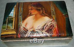 Hand Painted Of A Beauty German 800 Silver Large Cigar Box By Ernst Hechtle