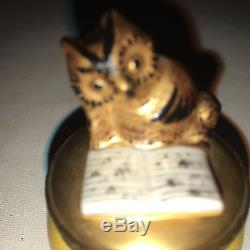 Hand Painted Owl Reading a Book Graduation Gift Trinket Box from Limoges France