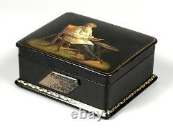 Hand painted USSR FEDOSKINO Leo Tolstoy PALEKH lacquer box 1959 Russian signed