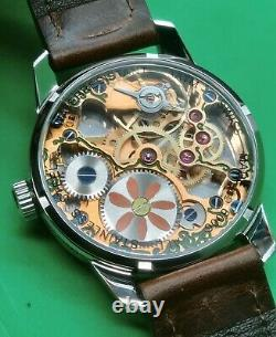 Handmade Sterling Silver Skull Swiss Unitas 6497 Hand Engraved Hand Painted Dial