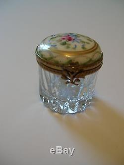 Handpainted (Peint Main) Limoges Porcelain Trinket Box With Clear Glass Base