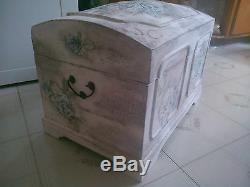 Handpainted wooden box/chest/trunk aged floral storage/decorative Shabby chic