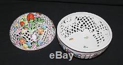 Herend Covered Hand-Painted Reticulated Strawberry Box Bowl