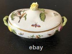 Herend Hungary Hand Painted Rothschild Bird Medium Candy Box With Lid