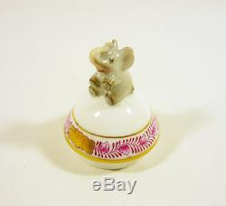 Herend, Raspberry Chinese Bouquet Egg With Elephant 3, Handpainted Porcelain
