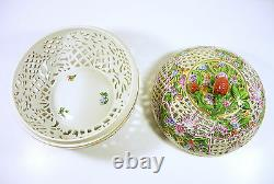 Herend XXL Floral Open Work Reticulated Round Box, Handpainted Porcelain! (p042)