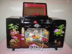 Japanese Hand Painted Black Lacquered Music Jewelry Box Spinning Ballerina