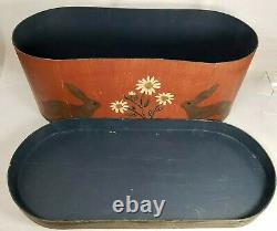 Jeanette McVay Folk Art Hand Painted Set of 3 Nesting Band Boxes Signed