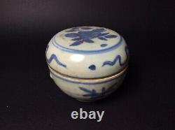 Kangxi Chinese Export Porcelain 17th 18th C Blue And White Lidded Jar Box Pot
