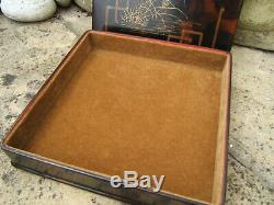 LATE 19c JAPANESE HAND PAINTED ANTIQUE JEWELLERY BOX FAB INTERIOR