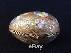 LIMOGES Atelier Camille LE TALLEC HAND PAINTED Gold EGG Hinged TRINKET BOX