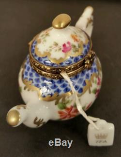 LIMOGES TRINKET BOX TEA POT FRANCE SIGNED HANDPAINTED ROCHARD TEABAG