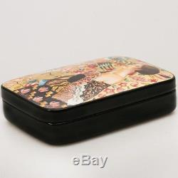 Lacquer Box Hand Made Hand Painted Original Fedoskino Lady with Fan by Klimt