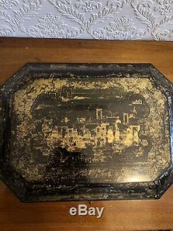Large 1820-Century ANTIQUE Chinese Lacquered Wood Caddy Sewing Box