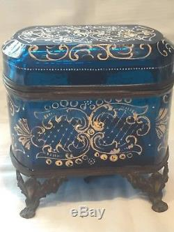 Large Antique French Glass Casket Box hand painted with Key