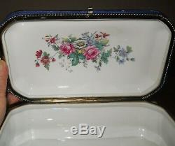 Large Cobalt Sevres Style Hand Painted Watteau Porcelain Jewelry Dresser Box