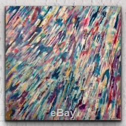 Large ORIGINAL HAND PAINTED ABSTRACT By Diane Plant 100x100cm Box Canvas Acrylic