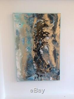 Large ORIGINAL HAND PAINTED ABSTRACT By Diane Plant 60 x 90cm Box Canvas Acrylic