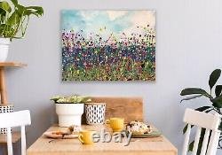 Large ORIGINAL HAND PAINTED ABSTRACT By Diane Plant 81 x 61cm Box Canvas Acrylic