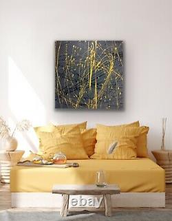 Large ORIGINAL HAND PAINTED ABSTRACT By Diane Plant 87 x 87cm Box Canvas Acrylic