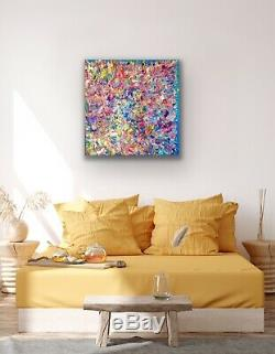 Large ORIGINAL HAND PAINTED ABSTRACT By Diane Plant 87x87cm Box Canvas Acrylic