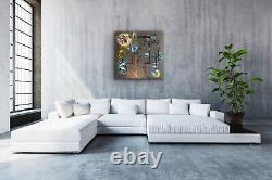 Large ORIGINAL HAND PAINTED ABSTRACT By Diane Plant 90 x 90cm Box Canvas Acrylic