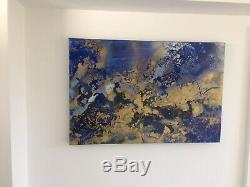 Large ORIGINAL HAND PAINTED ABSTRACT By Diane Plant 90x60 Cm Box Canvas Acrylic