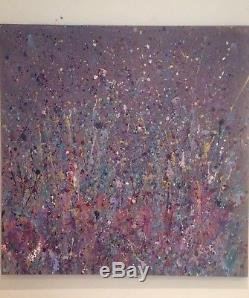Large ORIGINAL HAND PAINTED ABSTRACT CANVAS Box By Diane Plant 90 X 90cm