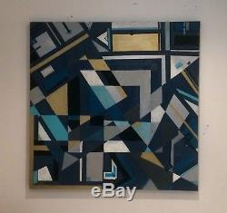 Large ORIGINAL HAND PAINTED ABSTRACT CANVAS By Diane Plant 90 X90 Cm Box Canvas