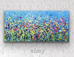 Large ORIGINAL HANDPAINTED ABSTRACT By Sally Oasis 100x50x4cm Box Canvas Acrylic