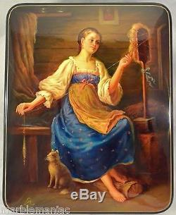 Large Russian Lacquer Box Fedoskino Spinner YOung LAdy with Cat Hand Painted