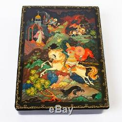 Large Russian Lacquer Box Hand Painted Artist Signed 1982 Knight on Horseback 9