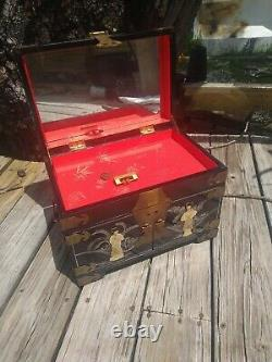 Large Vintage Hand Painted Japanese Jewelry Box Geisha Mother of Pearl/Abalone